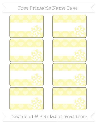 Free Pastel Light Yellow Heart Pattern Cheer Pom Pom Tags