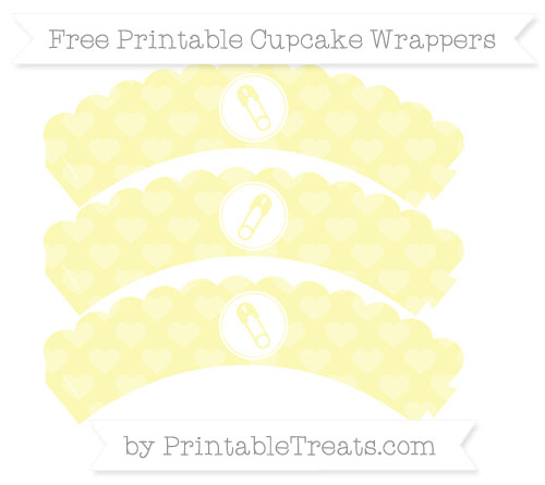 Free Pastel Light Yellow Heart Pattern Diaper Pin Scalloped Cupcake Wrappers