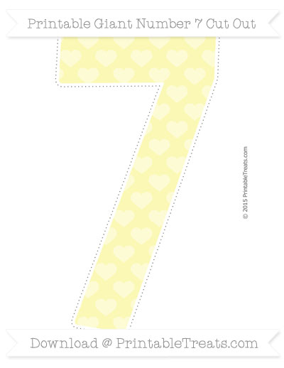 Free Pastel Light Yellow Heart Pattern Giant Number 7 Cut Out