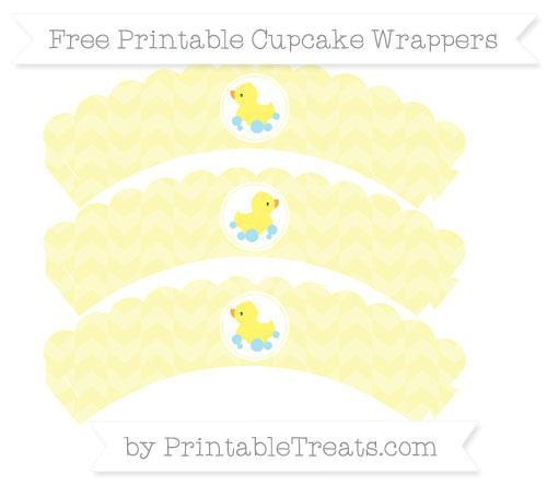 Free Pastel Light Yellow Herringbone Pattern Baby Duck Scalloped Cupcake Wrappers