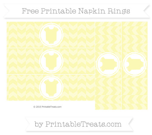 Free Pastel Light Yellow Herringbone Pattern Baby Onesie Napkin Rings