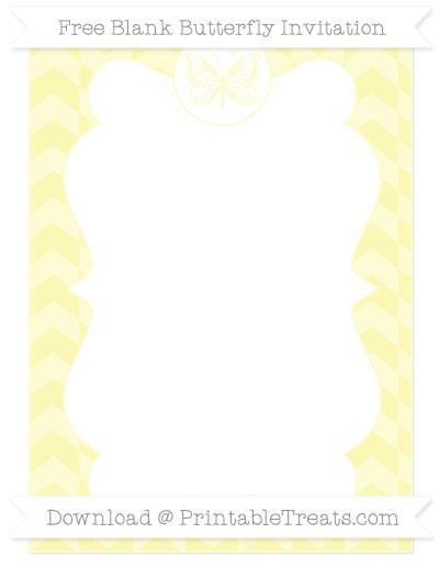 Free Pastel Light Yellow Herringbone Pattern Blank Butterfly Invitation