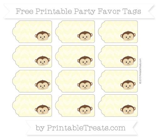 Free Pastel Light Yellow Herringbone Pattern Boy Monkey Party Favor Tags
