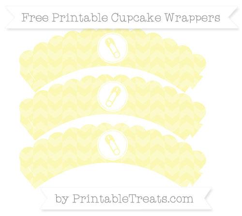 Free Pastel Light Yellow Herringbone Pattern Diaper Pin Scalloped Cupcake Wrappers