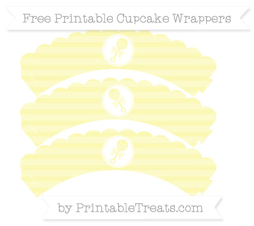 Free Pastel Light Yellow Horizontal Striped Baby Rattle Scalloped Cupcake Wrappers