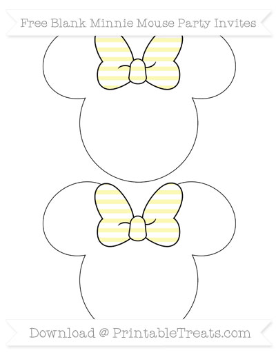 Free Pastel Light Yellow Horizontal Striped Blank Minnie Mouse Party Invites