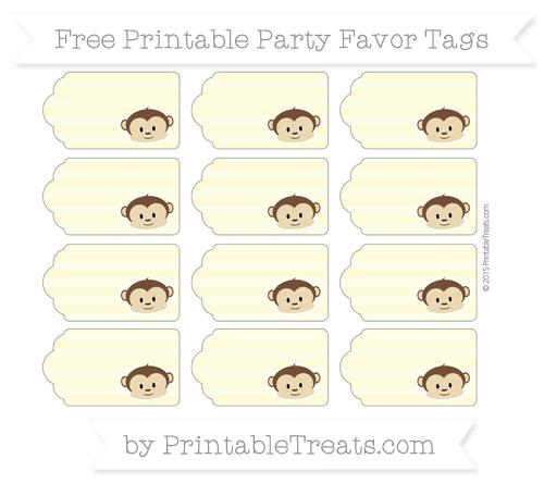 Free Pastel Light Yellow Horizontal Striped Boy Monkey Party Favor Tags