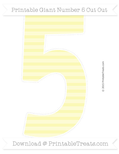 Free Pastel Light Yellow Horizontal Striped Giant Number 5 Cut Out