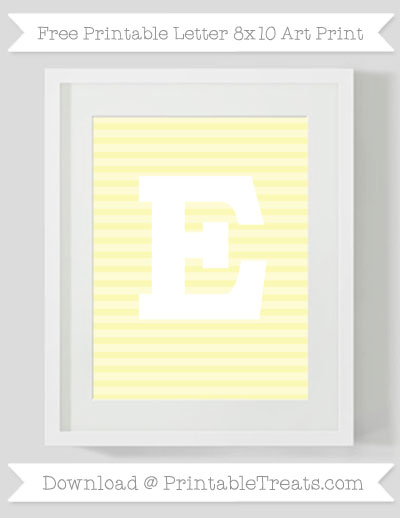 Free Pastel Light Yellow Horizontal Striped Letter E 8x10 Art Print