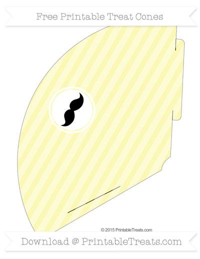 Free Pastel Light Yellow Horizontal Striped Mustache Treat Cone