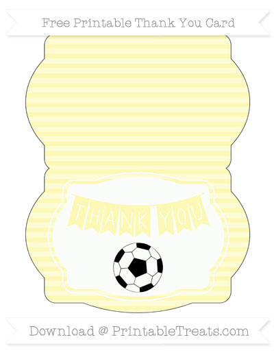 Free Pastel Light Yellow Horizontal Striped Soccer Thank You Card