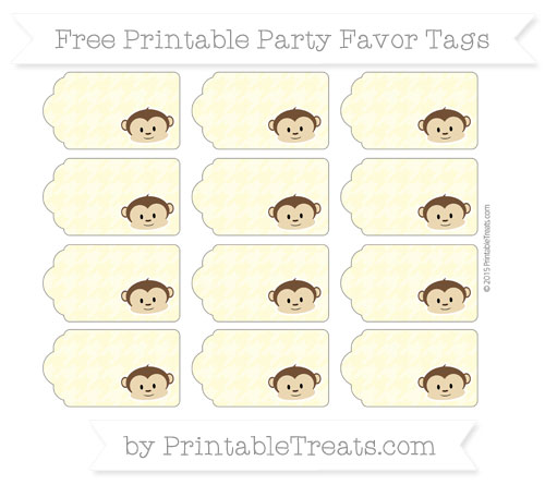 Free Pastel Light Yellow Houndstooth Pattern Boy Monkey Party Favor Tags