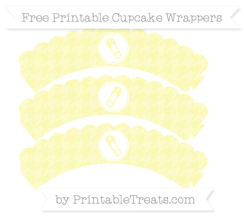 Free Pastel Light Yellow Houndstooth Pattern Diaper Pin Scalloped Cupcake Wrappers