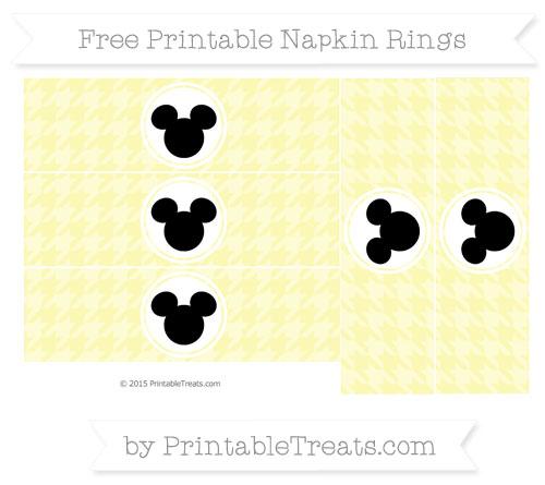 Free Pastel Light Yellow Herringbone Pattern Mickey Mouse Napkin Rings