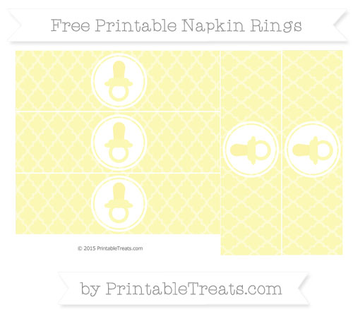 Free Pastel Light Yellow Moroccan Tile Baby Pacifier Napkin Rings
