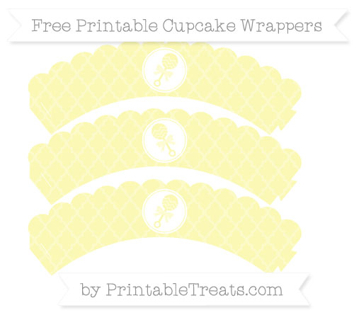 Free Pastel Light Yellow Moroccan Tile Baby Rattle Scalloped Cupcake Wrappers