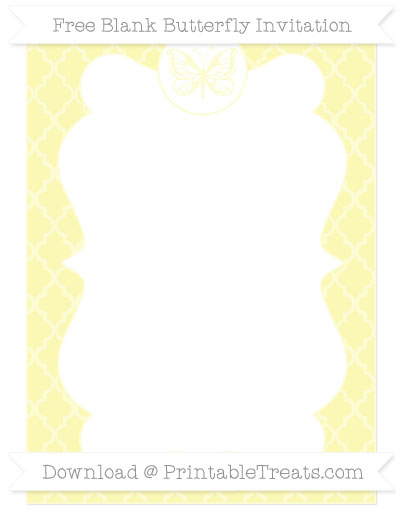 Free Pastel Light Yellow Moroccan Tile Blank Butterfly Invitation