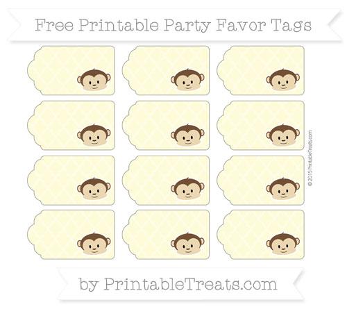 Free Pastel Light Yellow Moroccan Tile Boy Monkey Party Favor Tags
