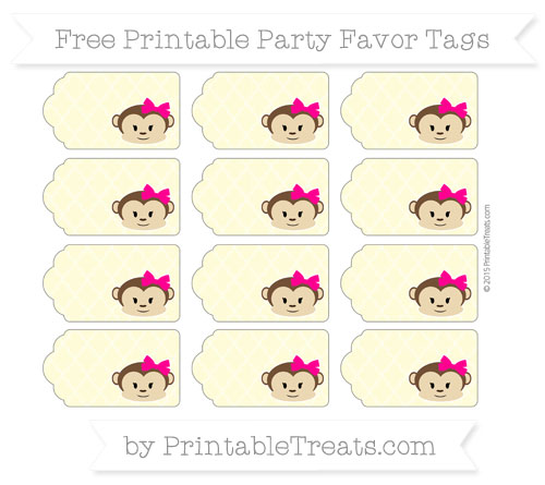 Free Pastel Light Yellow Moroccan Tile Girl Monkey Party Favor Tags