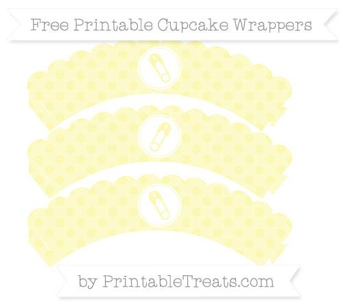 Free Pastel Light Yellow Polka Dot Diaper Pin Scalloped Cupcake Wrappers