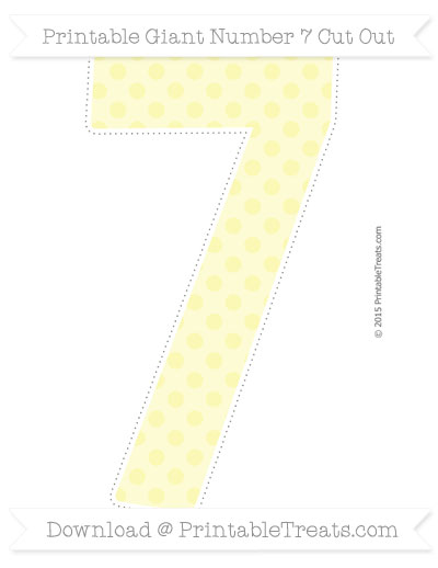 Free Pastel Light Yellow Polka Dot Giant Number 7 Cut Out