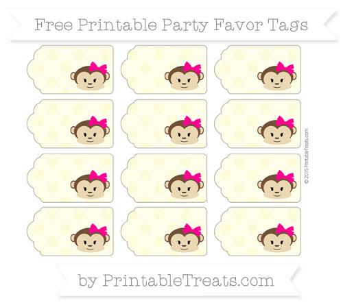 Free Pastel Light Yellow Polka Dot Girl Monkey Party Favor Tags