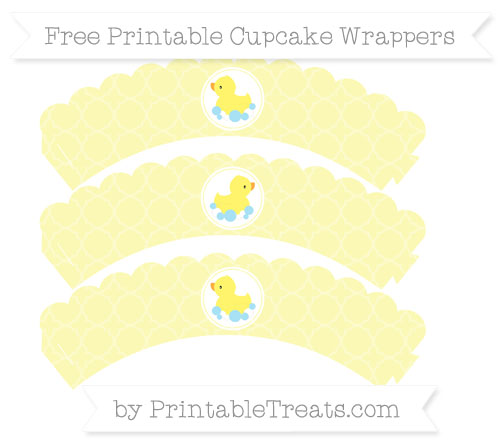 Free Pastel Light Yellow Quatrefoil Pattern Baby Duck Scalloped Cupcake Wrappers