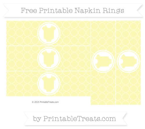 Free Pastel Light Yellow Quatrefoil Pattern Baby Onesie Napkin Rings