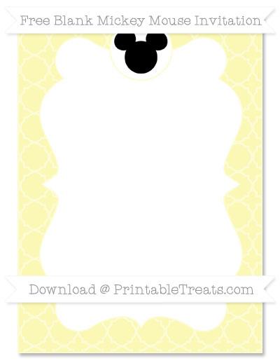 Free Pastel Light Yellow Quatrefoil Pattern Blank Mickey Mouse Invitation