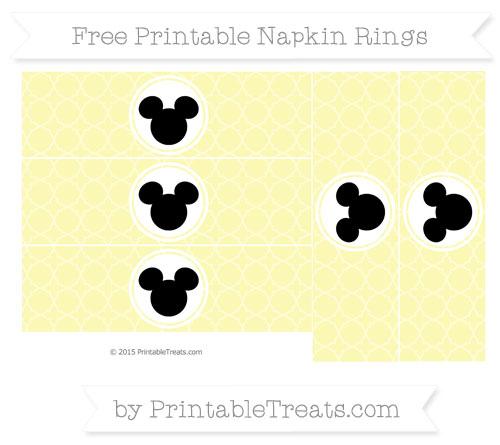 Free Pastel Light Yellow Quatrefoil Pattern Mickey Mouse Napkin Rings