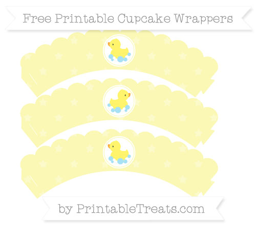 Free Pastel Light Yellow Star Pattern Baby Duck Scalloped Cupcake Wrappers