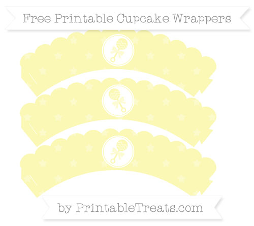 Free Pastel Light Yellow Star Pattern Baby Rattle Scalloped Cupcake Wrappers