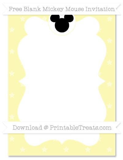 Free Pastel Light Yellow Star Pattern Blank Mickey Mouse Invitation