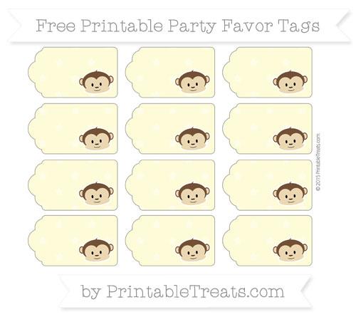 Free Pastel Light Yellow Star Pattern Boy Monkey Party Favor Tags