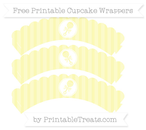 Free Pastel Light Yellow Striped Baby Rattle Scalloped Cupcake Wrappers