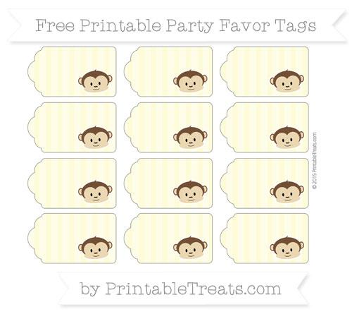 Free Pastel Light Yellow Striped Boy Monkey Party Favor Tags