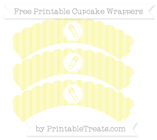 Free Pastel Light Yellow Striped Diaper Pin Scalloped Cupcake Wrappers