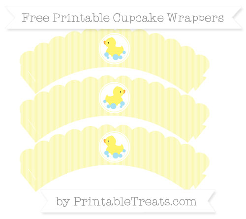 Free Pastel Light Yellow Thin Striped Pattern Baby Duck Scalloped Cupcake Wrappers