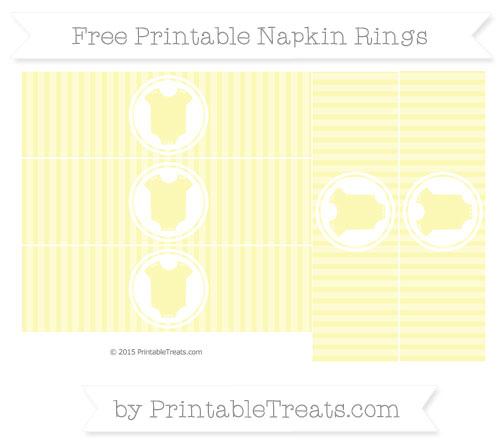 Free Pastel Light Yellow Thin Striped Pattern Baby Onesie Napkin Rings