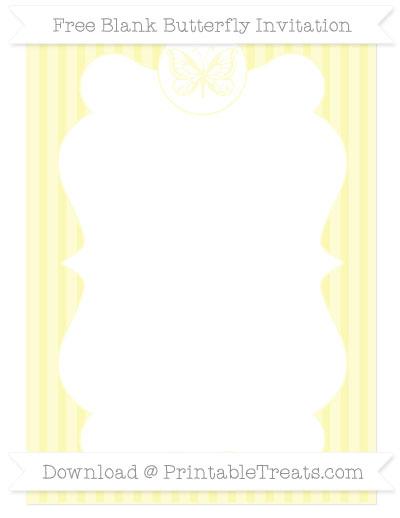 Free Pastel Light Yellow Thin Striped Pattern Blank Butterfly Invitation