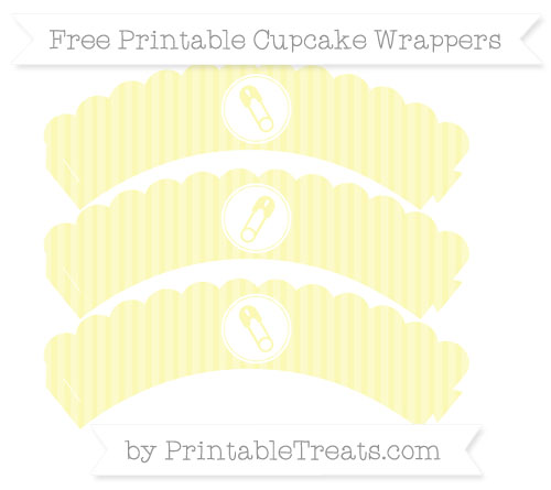Free Pastel Light Yellow Thin Striped Pattern Diaper Pin Scalloped Cupcake Wrappers