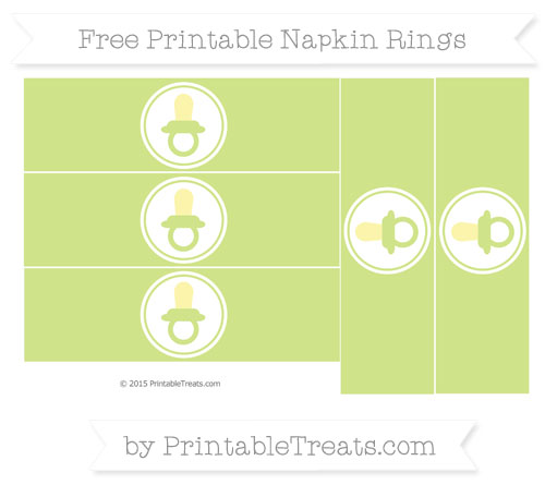 Free Pastel Lime Green Baby Pacifier Napkin Rings