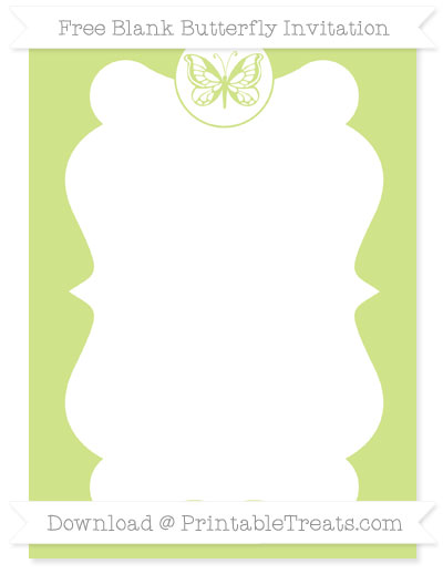 Free Pastel Lime Green Blank Butterfly Invitation
