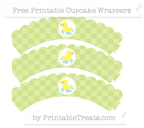 Free Pastel Lime Green Checker Pattern Baby Duck Scalloped Cupcake Wrappers