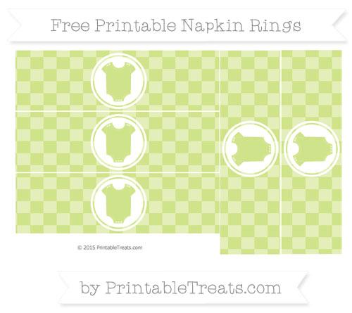 Free Pastel Lime Green Checker Pattern Baby Onesie Napkin Rings