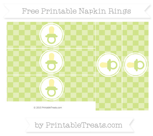 Free Pastel Lime Green Checker Pattern Baby Pacifier Napkin Rings