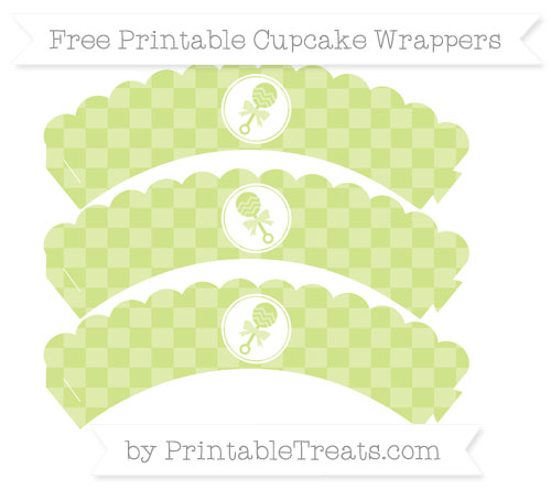 Free Pastel Lime Green Checker Pattern Baby Rattle Scalloped Cupcake Wrappers