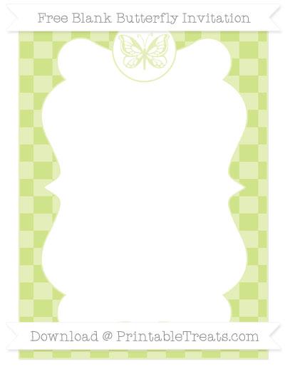 Free Pastel Lime Green Checker Pattern Blank Butterfly Invitation