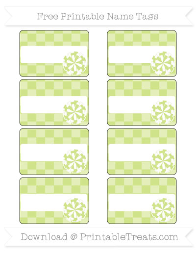 Free Pastel Lime Green Checker Pattern Cheer Pom Pom Tags
