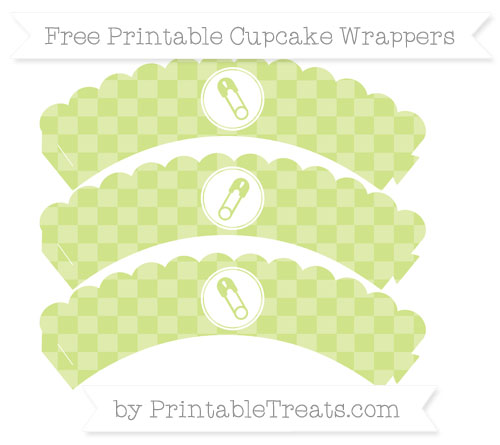 Free Pastel Lime Green Checker Pattern Diaper Pin Scalloped Cupcake Wrappers